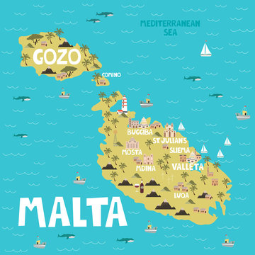Illustration map of Malta with city, landmarks and nature. Editable vector illustration