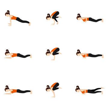 Arm balance yoga poses set/ Illustration stylized woman practicing arm balance yoga postures
