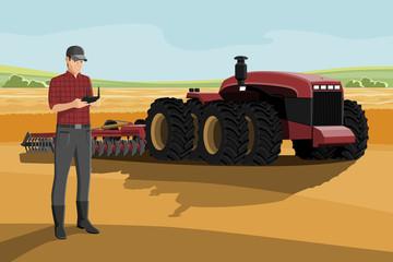 Etiqueta Engomada - Farmer with autonomous tractor on a smart farm. Vector illustration EPS 10