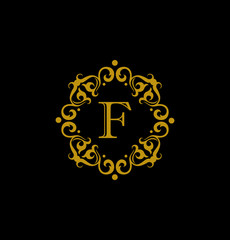 Luxury Letter F logo. This logo icon incorporate with round flower ornament and letter J. It will be suitable for Restaurant, Royalty, Boutique, Cafe, Hotel, Heraldic, Jewelry, Fashion.