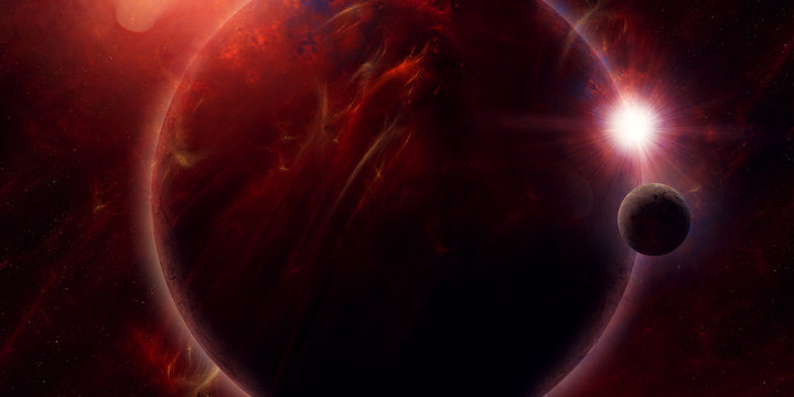 eclipse in space, science fiction planet covering sun surreal illustration
