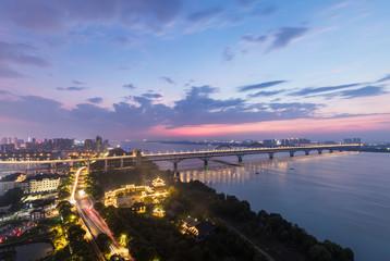 jiujiang combined bridge at night