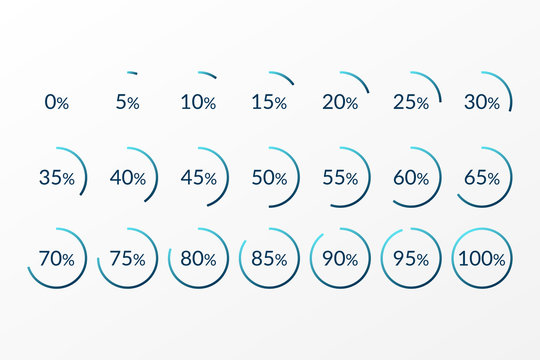 Percentage vector infographics. 0 5 10 15 20 25 30 35 40 45 50 55 60 65 70 75 80 85 90 95 100 percent pie chart symbols. Isolated colorful circle icons for web design