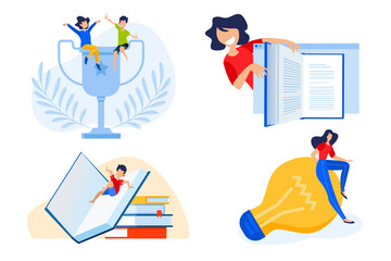 Flat design concept of e-book, education success, knowledge. Vector illustration for website banner, marketing material, presentation template, online advertising.