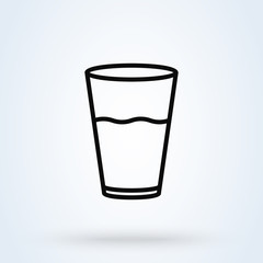 water glass Simple. line art vector modern icon design illustration.