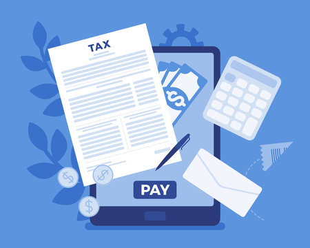 Online tax payment via tablet. Electronic service for taxpayers to pay individual income and business taxes, convenience e-Payment facilitates, mobile system. Vector flat style cartoon illustration
