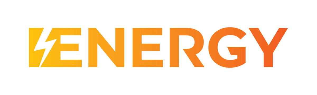 energy word. yellow to orange energy logo