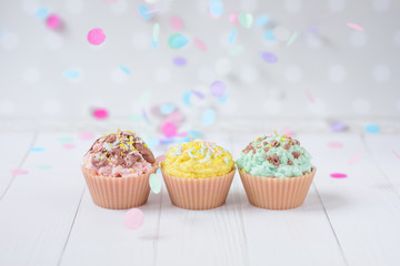 cute candles in the form of cakes pastel colors