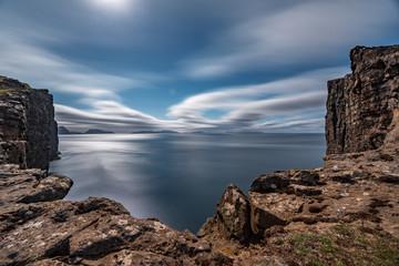 Sorvagsvatn lake rocks over the ocean long exposure, Faroe Islands