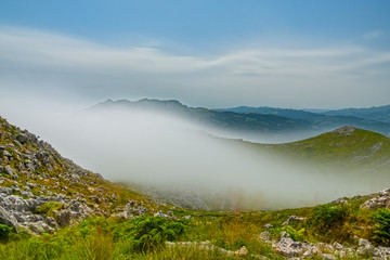 Ultra long exposure of mist over the mountain
