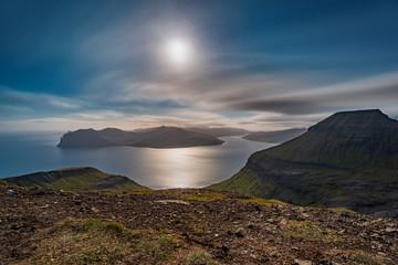 Long exposure top view of Faroe Islands at dusk