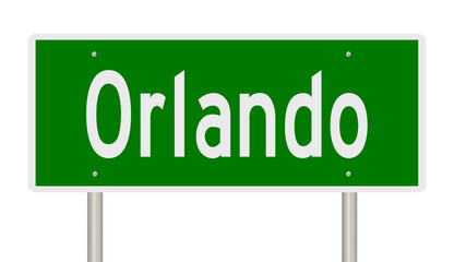 Rendering of a green highway sign for Orlando Florida