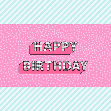 Happy Birthday inscription on pink doll lol pattern with blue stripes background