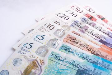 UK pound,money of United kingdom close up on white, Pound UK note Wall mural