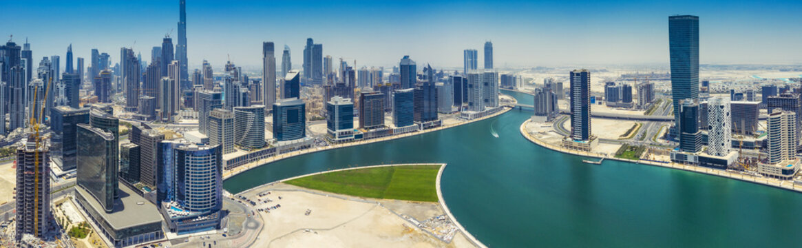 Aerial panorama view on downtown Dubai, UAE, on a summer day.