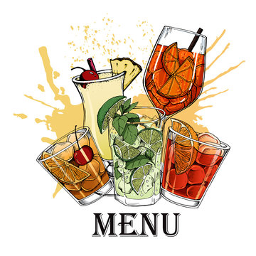 Vector illustration of alcoholic cocktails hand drawn style 13
