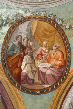 His name is John, Birth of Saint John the Baptist, fresco on the ceiling of the Saint John the Baptist church in Zagreb, Croatia