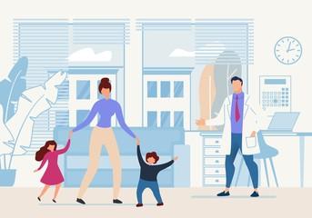 Bright Banner Childrens Doctor Cartoon Flat.