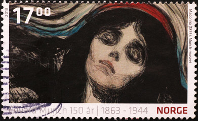 Painting of woman by Munch on norwegian stamp