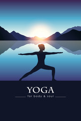 Spoed Fotobehang Blauw yoga for body and soul meditating girl silhouette by the lake with blue mountain landscape vector illustration EPS10