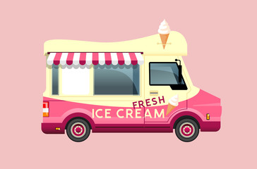 Classic summer ice cream van in cream and pink colours. Side view vector illustration.