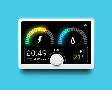 A modern home energy smart meter for tracking gas and electricity usage. Vector illustration.