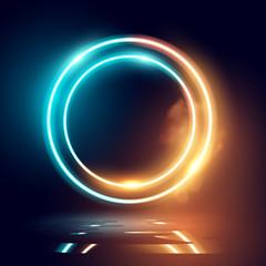 Deurstickers Licht, schaduw Neon Glowing Lighting and Smoke Loops
