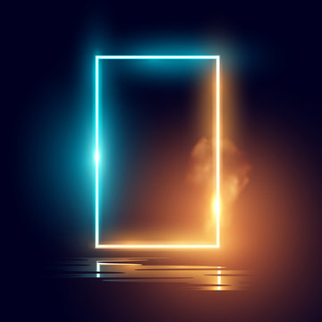 A glowing mood neon lighting frame vector effect.