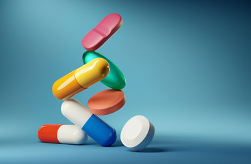Medical balancing act. A group of medicine pills and antibiotics balancing on top of each other. 3D render illustration.