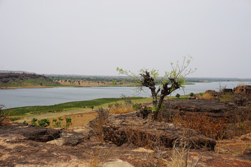 Barrage of Dapaong in the savanna of northern Togo