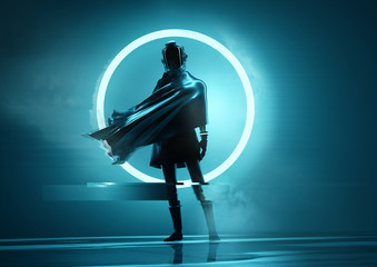 A futuristic space women astronaut standing in front of the camera with a glowing neon circle in the background. Conceptual people portrait 3D illustration.