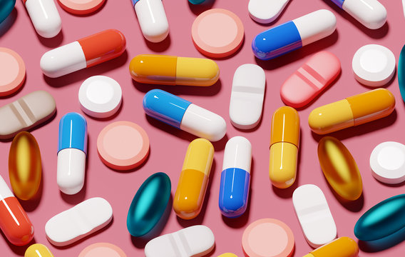 A background filled with various medical pills and health capsules. 3D render illustration.