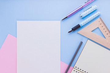 Back to school concept. School stationery and seashell on pink blue background. Pens, pencil and...