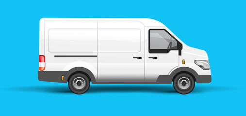 A white van for logistics. Branding and identity vector illustration.