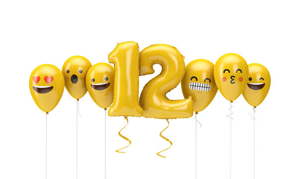 Number 12 yellow birthday emoji faces balloons. 3D Render