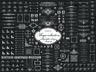 Mega collection of vector calligraphic design elements on chalkboard background Wall mural