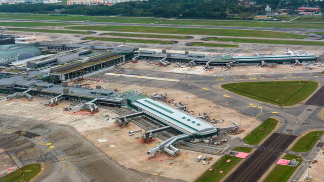 Aerial view of Singapore Changi Airport