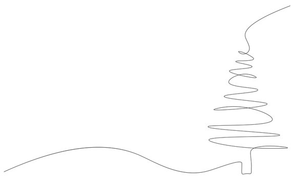 Christmas background with tree one line drawing, vector illustration