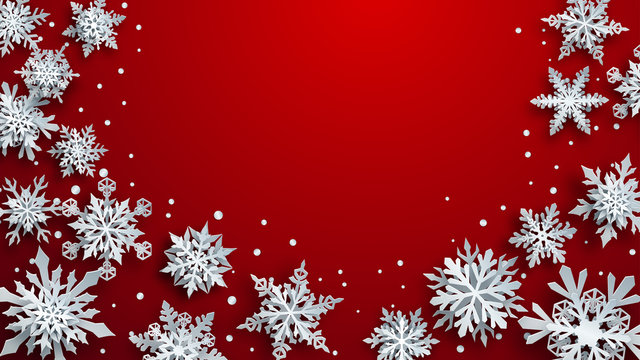 Christmas illustration of white complex paper snowflakes with soft shadows on red background