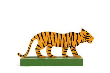 Vintage Tiger Toy Animal Wooden On White Background