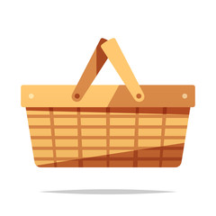 Picnic basket vector isolated illustration