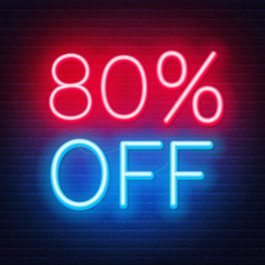 Fototapete - 80 percent off neon lettering on brick wall background