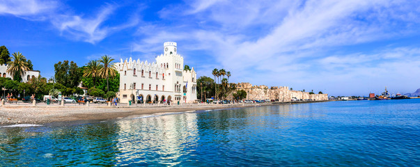 Travel (cruise) in Greece - picturesque port of Kos island. Dodecanese