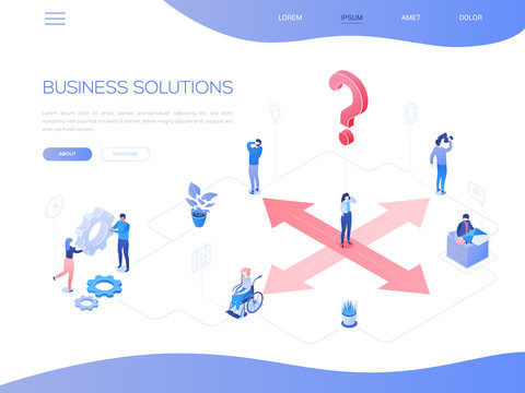 Business solutions - colorful isometric vector web banner