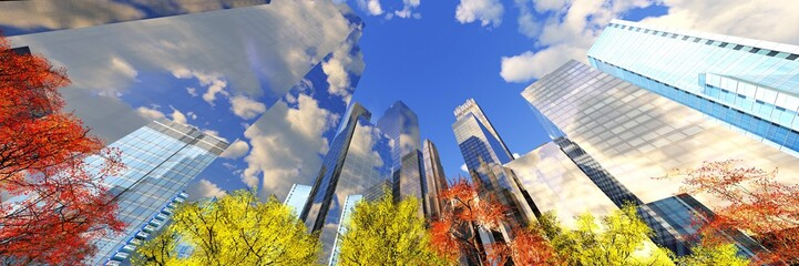 Wall Mural - Skyscrapers in the autumn, high-rise buildings against the sky with clouds and autumn trees, 3d rendering