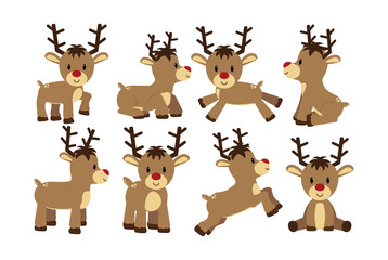 Vector set cartoon cute reindeer isolated
