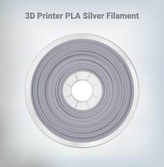 Fototapeta Vector illustration of special glittering composite pla or abs silver filament for 3D printing wounded on the spool. Plastic silver special material for a 3D printer. obraz