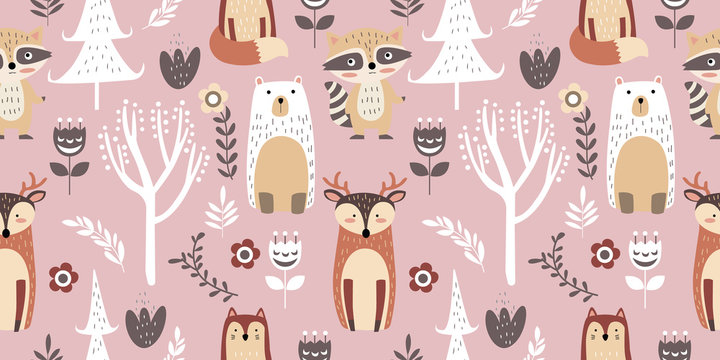 adorable animal illustration seamless pattern for kids project, fabric, scrapbooking, crafting, invitation and many more