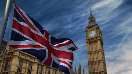 Beautiful  United Kingdom waving flag and behind the famous Big Ben.