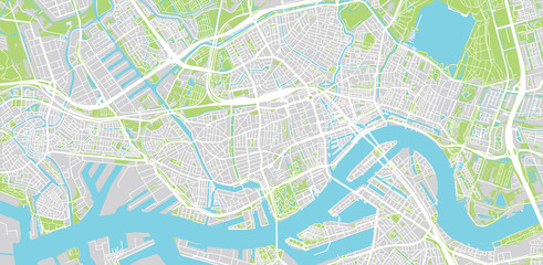 Fototapeten Rotterdam Urban vector city map of Rotterdam, The Netherlands